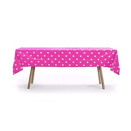 (10 Packs of Polka Dot Table Cover, Plastic Rectangular Heavy Duty Table Cover)