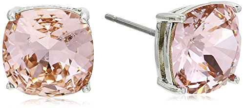 Vintage Swarovski Rose - Rhodium Plated Brass Cushion Radiant Cut Vintage Rose Swarovski Crystal Stud Earrings, Pink