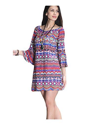 Bestgift Manches Mandarin Femmes Cou Multicolore De Mini-robe Ronde 13