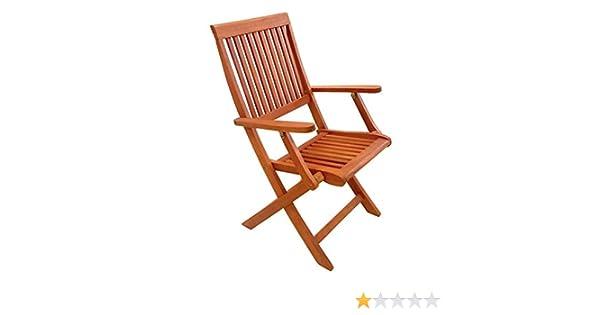 Silla madera plegable con brazos PG0483: Amazon.es: Jardín
