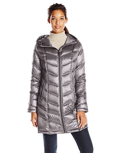 Calvin Klein Women's Mid-Length Packable Chevron Down Coat, Shine Granite, Large ()