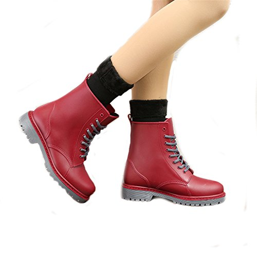 Rain Boots Waterproof Shoes Woman Water Rubber Lace Up Martin Boots Sewing Solid Flat With Shoes Red and Socks 8.5