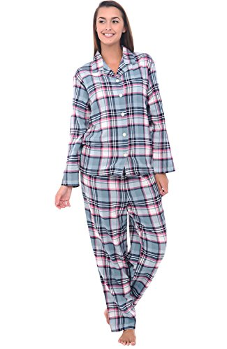 Del Rossa Women's Flannel Pajamas, Long Cotton Pj Set, Medium Green and Green Plaid (A0509Q21MD)