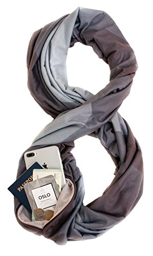 TRAVEL SCARF by WAYPOINT GOODS//Infinity Scarf w/Secret Hidden Zipper Pocket (Oslo) by WAYPOINT GOODS