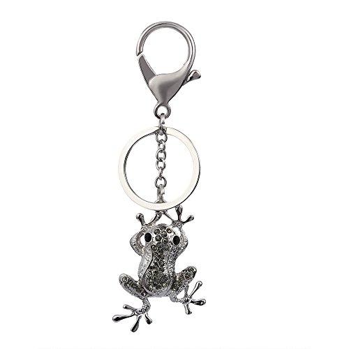Ring Rhinestone Plated Key Silver - NOUMANDA Fashion Silver Plated Frog Rhinestone Alloy Car Bag Keychain for Women Girls