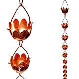 Stanwood Rain Chain Lotus Lily Flower Copper Rain Chain, 8-Feet