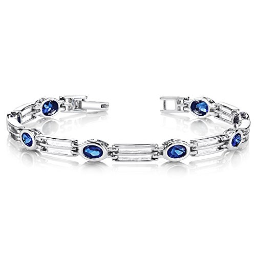 Created Sapphire Bracelet Sterling Silver Rhodium Nickel Finish Oval Bezel Set