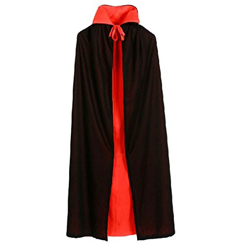 WESTLINK Cloak with Collar Costume Cape (35 - 55inches) Black Red Reversible]()