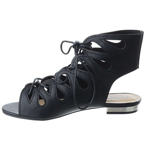 cuir Simili Pointure talon Chaussures sandales Découpe GLADIATEUR plat femmes Noir lacet bas été vz8xfPq