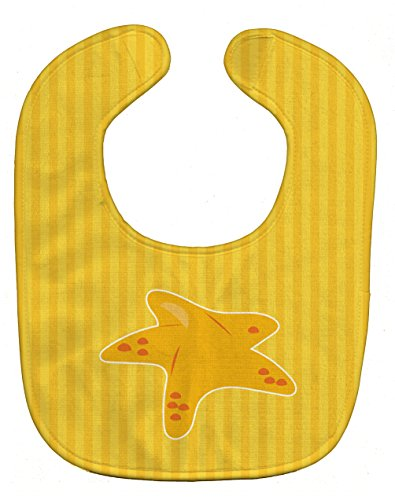 Caroline's Treasures Nautical Starfish Baby Bib, Yellow, Large