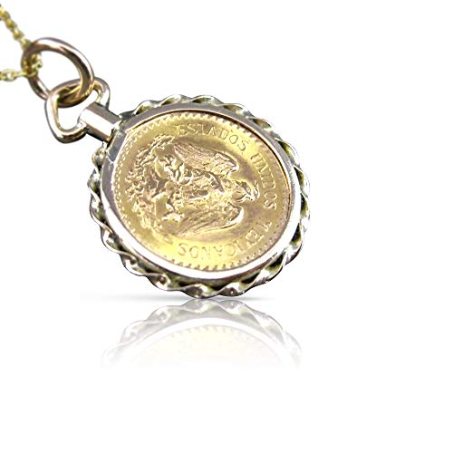 Milano Jewelers 14KT & 22KT Yellow Gold Handcrafted DOS Y Medio PESOS Coin Pendant #24119 ()