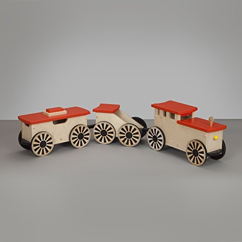 South Bend Woodworks Express Natural/Orange Ride-on Train 3 Car Set (Bend South Natural)