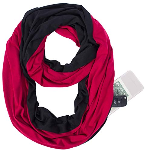 Infinity Scarf New Shawl Zip Pocket Wrap - Red Black Burgundy Fashion