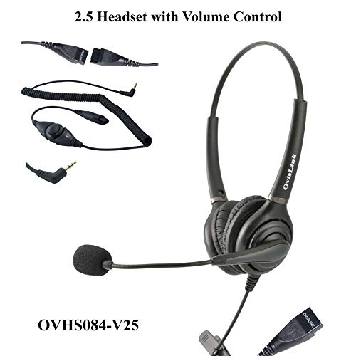 Dual Ear 2.5mm Call Center Headset with Volume Control and Mute function for AT&T phones