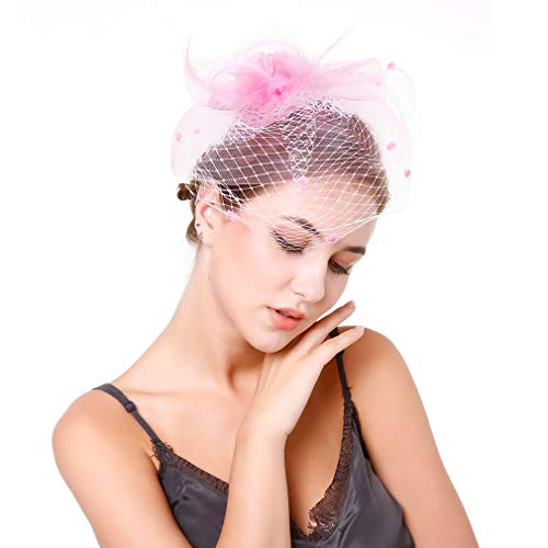 JK Home Women Girl Fascinators Hair Clip Hairpin Hat Feather Cocktail Wedding Tea Party Hat Pink]()