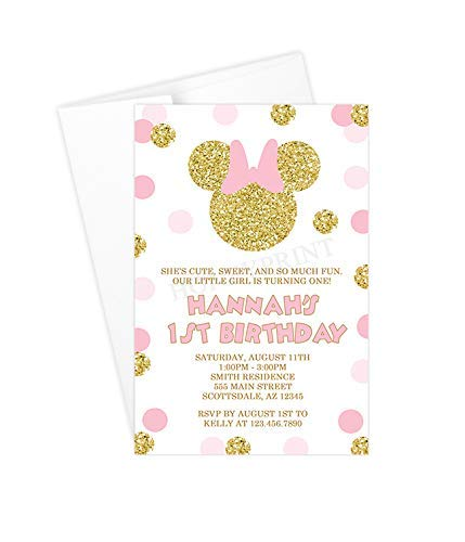 Image Unavailable Not Available For Color Pink And Gold Minnie Mouse 1st Birthday Invitations