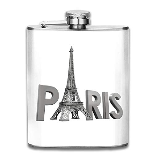 (TPSXXY Paris Tower and Text Stainless Steel 7 Oz Hip Flask Men Women Silver Alcohol Whiskey Liquor)