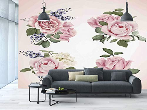 Vintage Rose Wallpaper - Large Wall Mural Sticker [ Kitchen Decor,Vintage Country Style Floral Decor Roses Wreath Bouquet Wildflowers Design,Pastel Pink ] Self-adhesive Vinyl Wallpaper / Removable Modern Decorating Wall Art