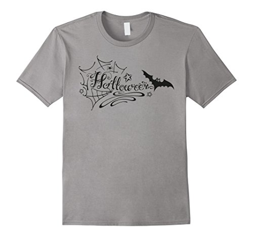 Halloween Shirt. Party Logo with bat and spider web. (Halloween Party Logo)