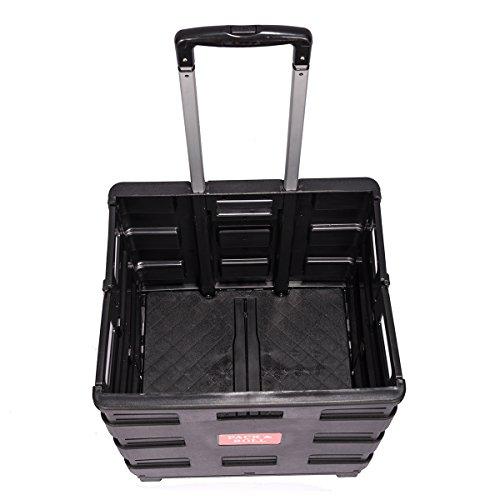 DXP Carretilla de las compras del cajón plegable hasta 35 kg contenedor con ruedas (negro con tapa): Amazon.es: Hogar