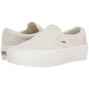 Vans Women's Classic Slip-On Platform Sneakers (8.5 Women/7 Men M US, (Embossed) Turtledove)