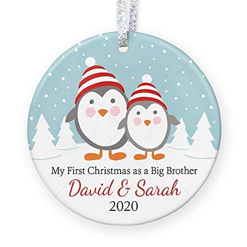 Free Shipping! Personalized Christmas Ornament Little Brother BoysSibling New Baby Newborn Kids