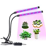 LED Grow Light, LEDMEI 18W Dual Head Plant Grow Light Dimmable 2 Levels Grow Lights Desk Clip with Adjustable 360° Goose Neck for Indoor Hydroponics Greenhouse Garden Home Office Plants