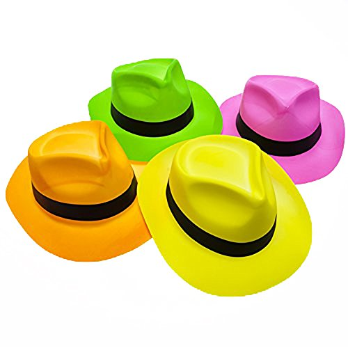 Novelty Place [Party Stars] Neon Fedora Plastic Party Hats - Gangster Style & UV Blacklight Glow - for Kids and Adults (Pack of ()