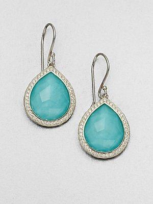 IPPOLITA Turquoise Doublet & Diamond Drop Earrings - Silver-Turquoise (Turquoise Doublet)