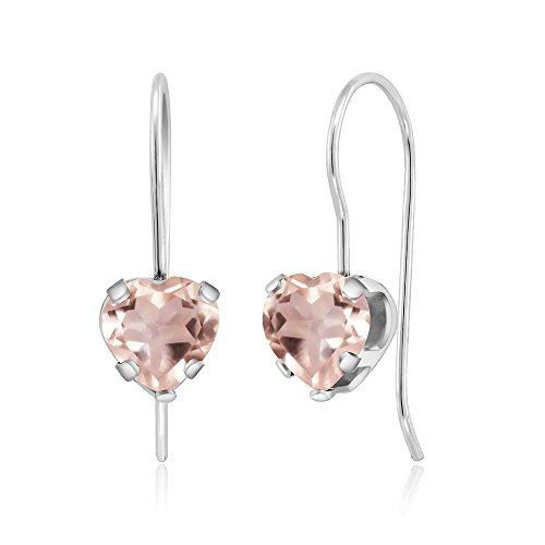 Gem Stone King 1.40 Ct Heart Shape Rose Quartz Sterling Silver 5-prong Dangle Earrings 6mm