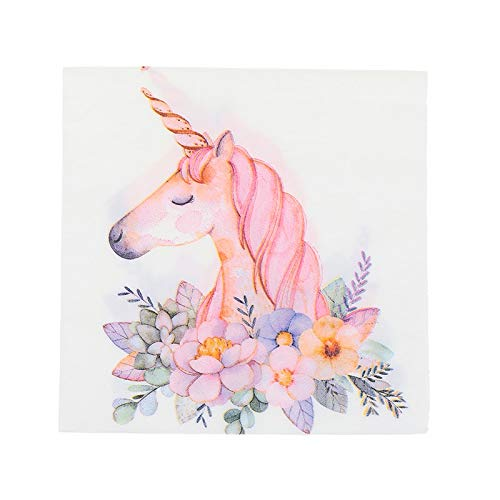 Disposable Party Tableware - 20pcs Pack Unicorn Paper Napkins Cafe Party Tissue Decoration 33cm - Party Disposable Tableware Disposable Party Tableware Gift Paper Wrap Silk Present Shred Roll F