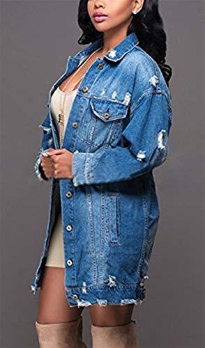 Bavero Donna Style Blau Strappato Jacket Giaccone Fashion Outerwear Denim Cappotto Moda Button Festa Con Primaverile Lunga Autunno Ragazze Manica Jeans tasca Casual Eleganti Multi rxOgrf
