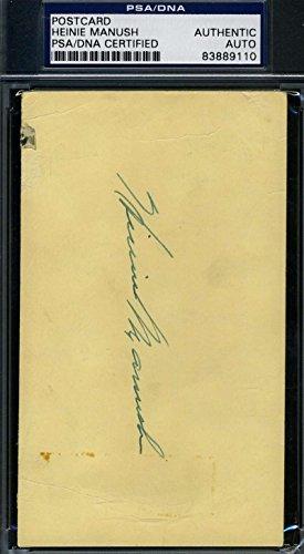 HEINIE MANUSH 1951 SIGNED PSA/DNA GPC GOVERNMENT POSTCARD AUTHENTIC AUTOGRAPH
