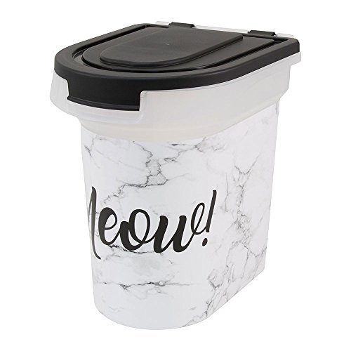 (Paw Prints Plastic Pet Food Bin, Meow Marble Design,15lb)