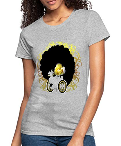 Spreadshirt Afro Hair with Flower Womens Jersey T-Shirt