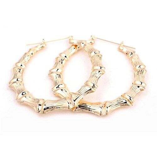 Gold Tone Bamboo (Iuhan Fashionable Big Round Punk Gold Tone Bamboo Hoop Large Alloy Circle Earrings Stud (M, Gold))