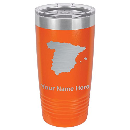 20oz Tumbler Mug, Country Silhouette Spain, Personalized Engraving Included (Orange) by SkunkWerkz