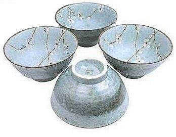 Set of Four Japanese Sakura Cherry Blossom Large Noodle /Soup Bowls 6 1/2 Inches