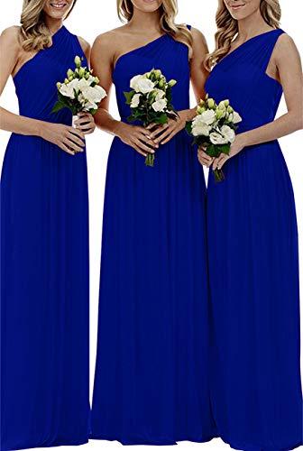 - Staypretty Women's Long One Shoulder Bridesmaid Gown Asymmetric Prom Evening Dress Royal Blue 16