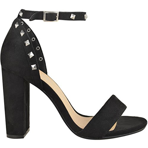 High Size Strap Party Womens Ankle Suede Studded Heels Fashion Shoes Faux Black Sandals Thirsty Block PWIwUxnqF1