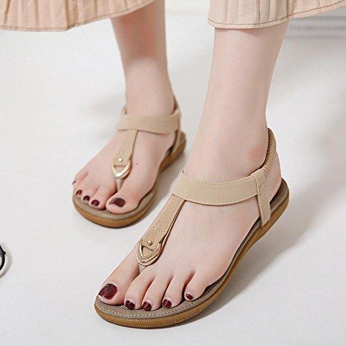zapatos de hebilla sandalias cómodas sandalias grandes de tamaño nacional de viento apricot