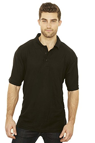 Men's Polo Shirt Short Sleeve Solid Color Classic Fit Premium Cotton Black (Extra Long Work Shirt)