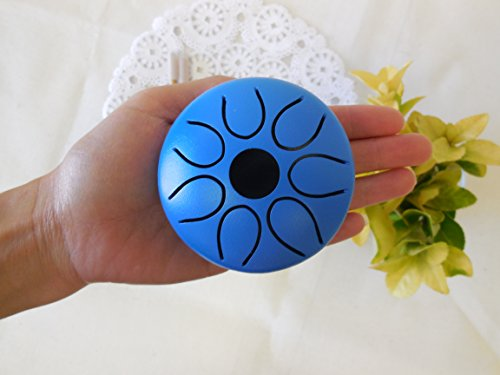 WuYou Handmade 3'' 8cm Steel Tongue Drum/handpan, 7 notes, w/2 sticks + leather bag, Sound Therapy, meditation, Sound Healing (blue) by WUYOU
