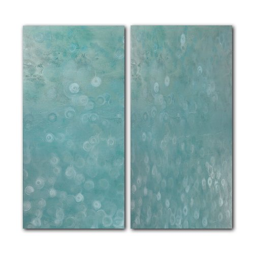 Ready2HangArt 'Abstract Spa' Canvas Wall Art, 20'' High x 40'' Wide x 1'' to 2'' Deep, Blue/White, Set of 2 by Ready2hangart