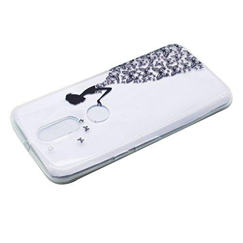iPhone Moto G4 / G4 Plus Coque , Leiai Mode Fille papillon Clear Silicone Doux TPU Housse Gel Etui Case Cover pour Apple iPhone Moto G4 / G4 Plus