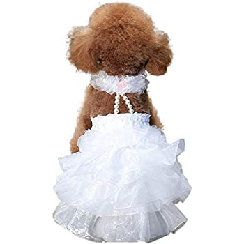 Amazon.com : NACOCO Dog Wedding Dress Bride Outfit with Pearl ...