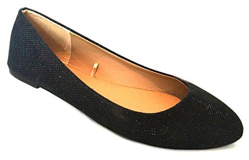 Shoes8teen Shoes 18 Damen Ballerina Ballerinas Flache Schuhe Solids & Leopards ... Schwarzer Glitter