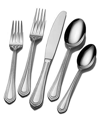 Mikasa Regent Bead 65-Piece Stainless Steel Flatware Set with Serveware, Service for 12