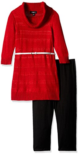 Amy Byer Girls Big 3/4 Sleeve Sequin Stripe Cowl Tunic with Legging