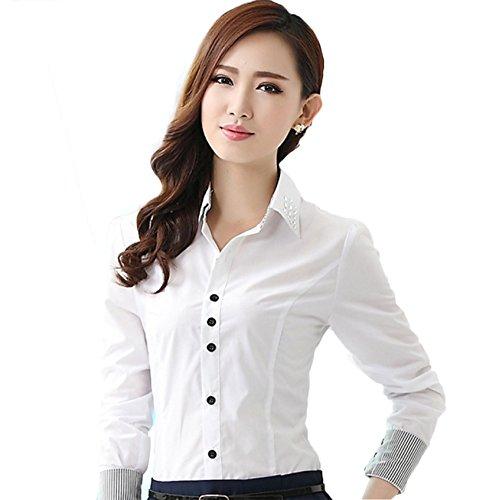 Chemise Commercial Longues Boutonn Blouse Femme Diamante WSLCN Moulante Elgant Manches Col Blanc Simplicit HwxfqxS5